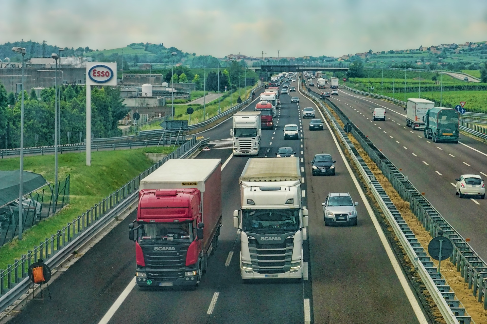 HGV trucks on motorway
