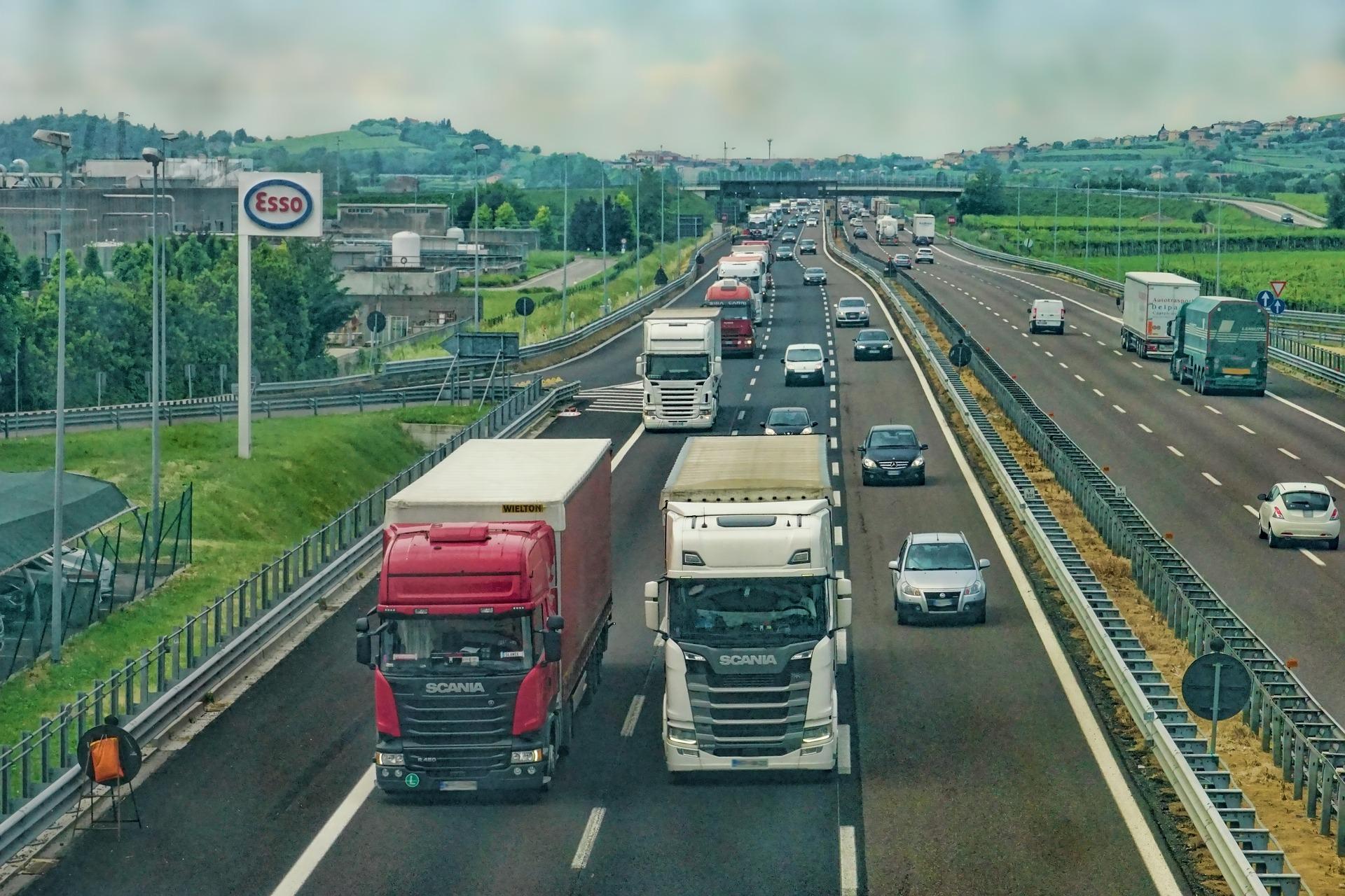 HGV trucks on motorway