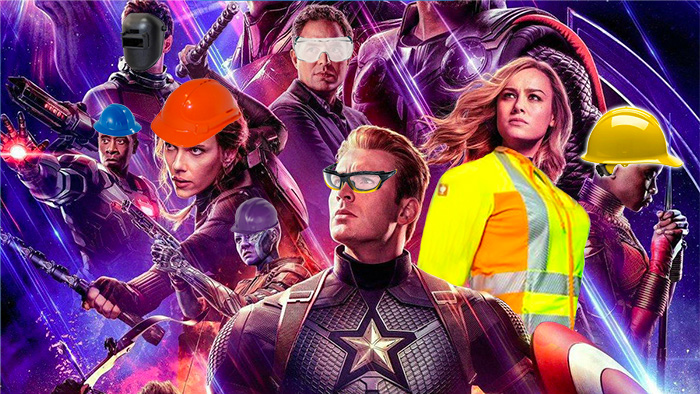 Avengers Endgame characters in safety gear